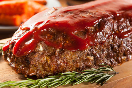 Homemade Ground Beef Meatloaf with Ketchup and Spices Stock Photo - 24927932
