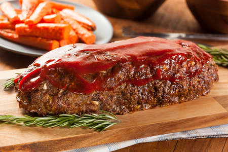 Homemade Ground Beef Meatloaf with Ketchup and Spices Stock Photo - 24927933