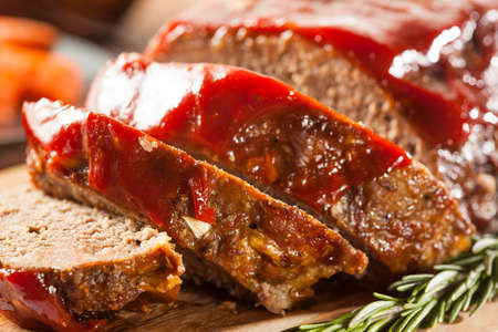 ground beef: Homemade Ground Beef Meatloaf with Ketchup and Spices