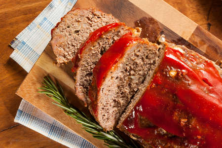 Homemade Ground Beef Meatloaf with Ketchup and Spices Stock Photo - 24927937