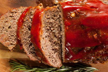 Homemade Ground Beef Meatloaf with Ketchup and Spices Stock Photo - 24927938