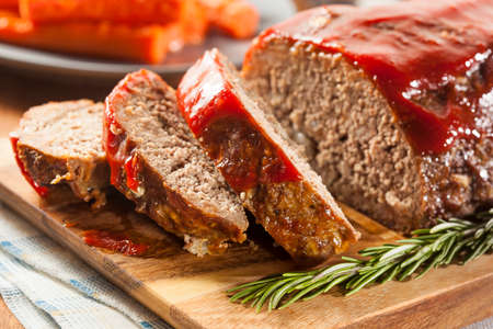Homemade Ground Beef Meatloaf with Ketchup and Spices Stock Photo - 24927941