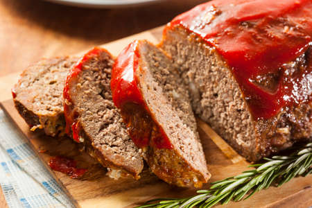 Homemade Ground Beef Meatloaf with Ketchup and Spices Stock Photo - 24927944
