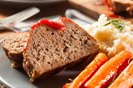 Homemade Ground Beef Meatloaf with Ketchup and Spices Stock Photo - 24927946