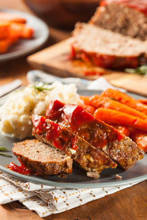 Homemade Ground Beef Meatloaf with Ketchup and Spices Stock Photo - 24927950