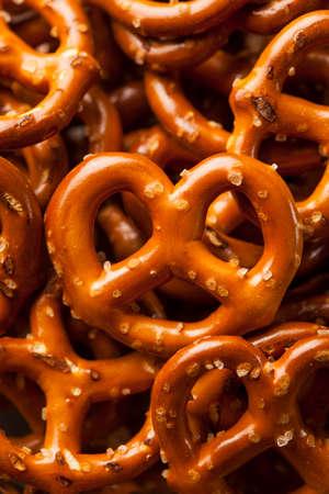 pretzel: Organic Brown Mini Pretzels with Salt in a Bowl