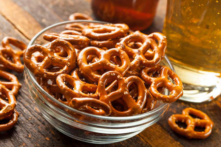 Organic Brown Mini Pretzels with Salt and a Beer photo