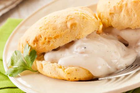 gravy: Homemade Buttermilk Biscuits and Gravy for Breakfast