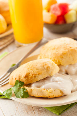 Homemade Buttermilk Biscuits and Gravy for Breakfast photo
