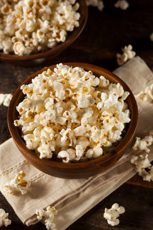 buttered: Healthy Buttered Popcorn with Salt in a Bowl