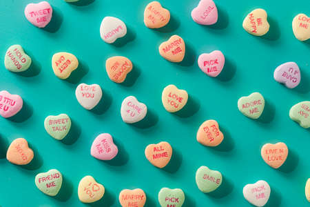 Colorful Candy Conversation Hearts for Valentines Day Stock Photo