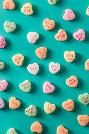 colourful candy: Colorful Candy Conversation Hearts for Valentines Day Stock Photo