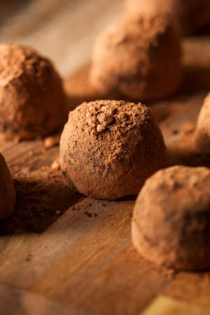 Fancy Gourmet Chocolate Trufffles on a Background
