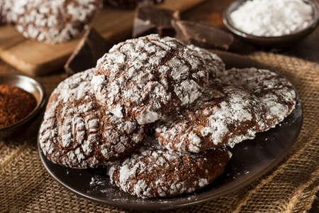 crinkles: Homemade Chocolate Crinkle Cookies with Powdered Sugar