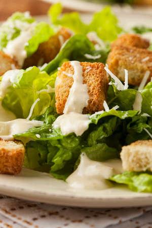 ensalada cesar: Saludable ensalada verde orgánico César con crutones y queso Foto de archivo