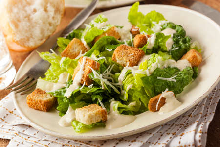 CHICKEN CAESAR SALAD: Healthy Green Organic Caesar Salad with Cheese and Croutons
