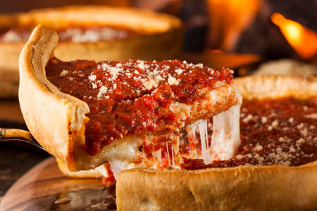 pizzas: Chicago Style Deep Dish Cheese Pizza with Tomato Sauce