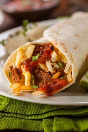 hashbrowns: Hearty Chorizo Breakfast Burrito with Eggs, Cheese, and Hashbrowns