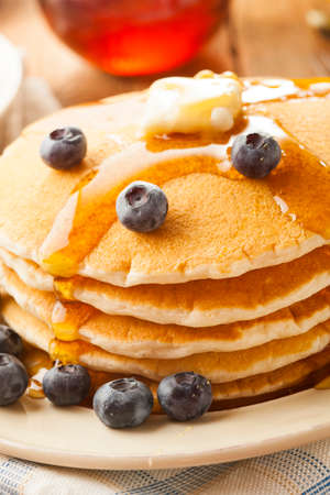 flapjacks: Homemade Buttermilk Pancakes with Blueberries and Syrup for Breakfast