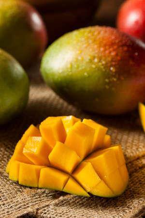 mango fruta: Los mangos maduros coloridos org�nicos Foto de archivo