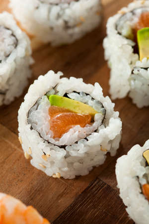 Healthy Japanese Salmon Maki Sushi with Rice and Fish