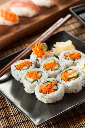 Healthy Japanese Vegetable Maki Sushi Roll with Rice and Fish 版權商用圖片