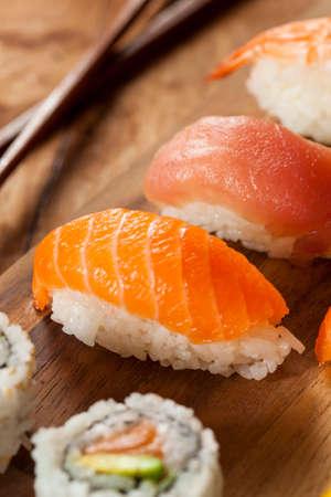 Healthy Japanese Nigiri Sushi with Rice and Fish