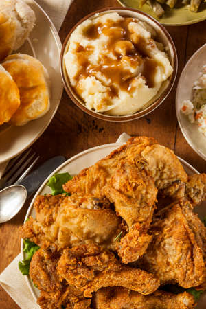 Homemade Southern Fried Chicken with Biscuits and Mashed Potatoes  Stock Photo