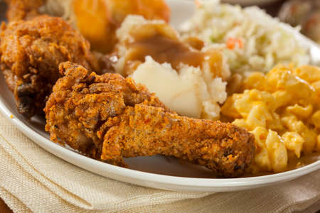 Homemade Southern Fried Chicken with Biscuits and Mashed Potatoes Stock Photo - 26214533