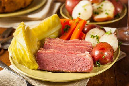 st  patty: Homemade Corned Beef and Cabbage with Potatoes and Carrots