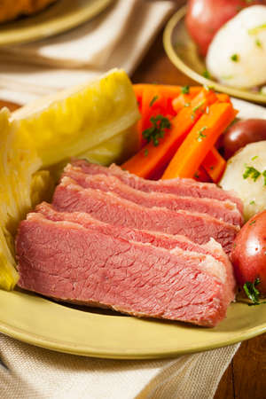 st patty day: Homemade Corned Beef and Cabbage with Potatoes and Carrots
