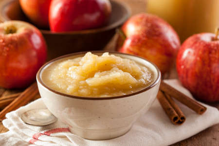 compote: Healthy Organic Applesauce with Cinnamon in a Bowl