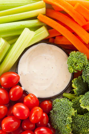 brocolli: Organic Raw Vegetables with Ranch Dip with Tomatoes, Celery, Brocolli, and Carrots Stock Photo