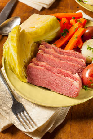 saint patty's: Homemade Corned Beef and Cabbage with Potatoes and Carrots