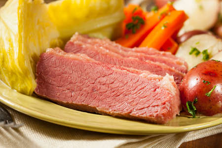 Homemade Corned Beef and Cabbage with Potatoes and Carrots photo