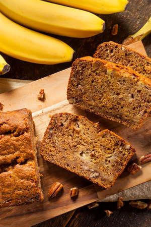 Homemade Banana Nut Bread Cut into Slices photo