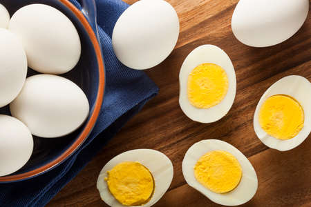 boiled: Organic Hard Boiled Eggs Ready to Eat Stock Photo
