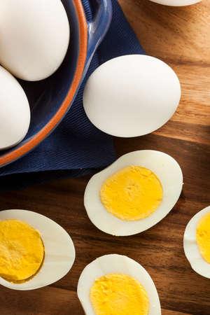 hard boiled: Organic Hard Boiled Eggs Ready to Eat Stock Photo