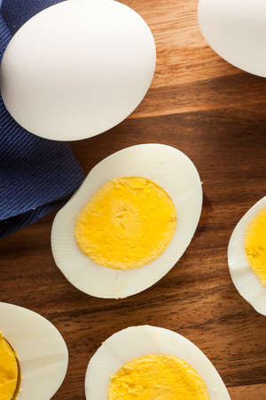 hard boiled: Organic Hard Boiled Eggs Ready to Eat Stock Photo