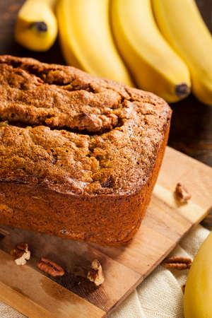 banana: Homemade Banana Nut Bread Cut into Slices