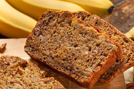 banana bread: Homemade Banana Nut Bread Cut into Slices