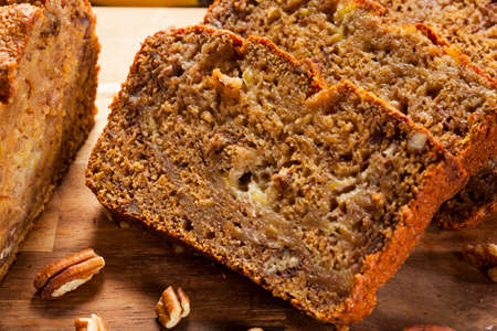 Homemade Banana Nut Bread Cut into Slices photo