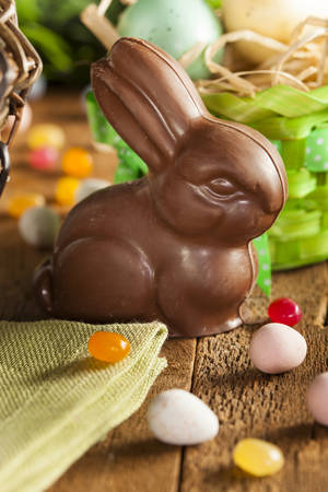 basket: Chocolate Easter Bunny in a Basket with Assorted Candy