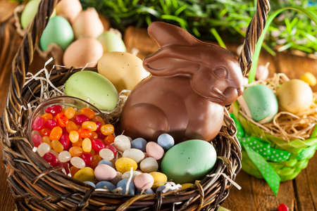easter basket: Chocolate Easter Bunny in a Basket with Assorted Candy