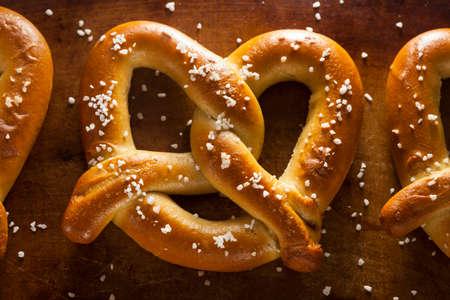 pretzels: Homemade Soft Pretzels with Salt Ready to Eat Stock Photo