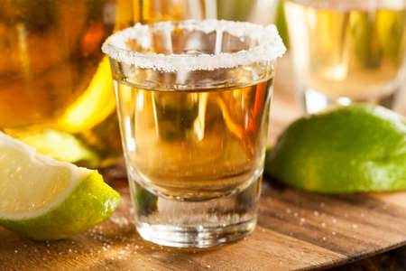 shot: Tequila in Shot Glasses with Lime and Salt