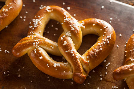 fresh  baked: Homemade Soft Pretzels with Salt Ready to Eat Stock Photo