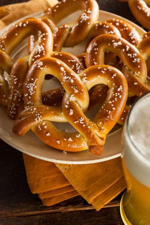 pretzel: Homemade Soft Pretzels with Salt Ready to Eat Stock Photo