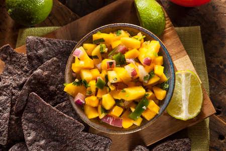 bailar salsa: Salsa de mango fresco hecho en casa con las virutas de maíz Foto de archivo