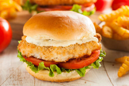 Breaded Fish Sandwich with Tartar Sauce and Fries